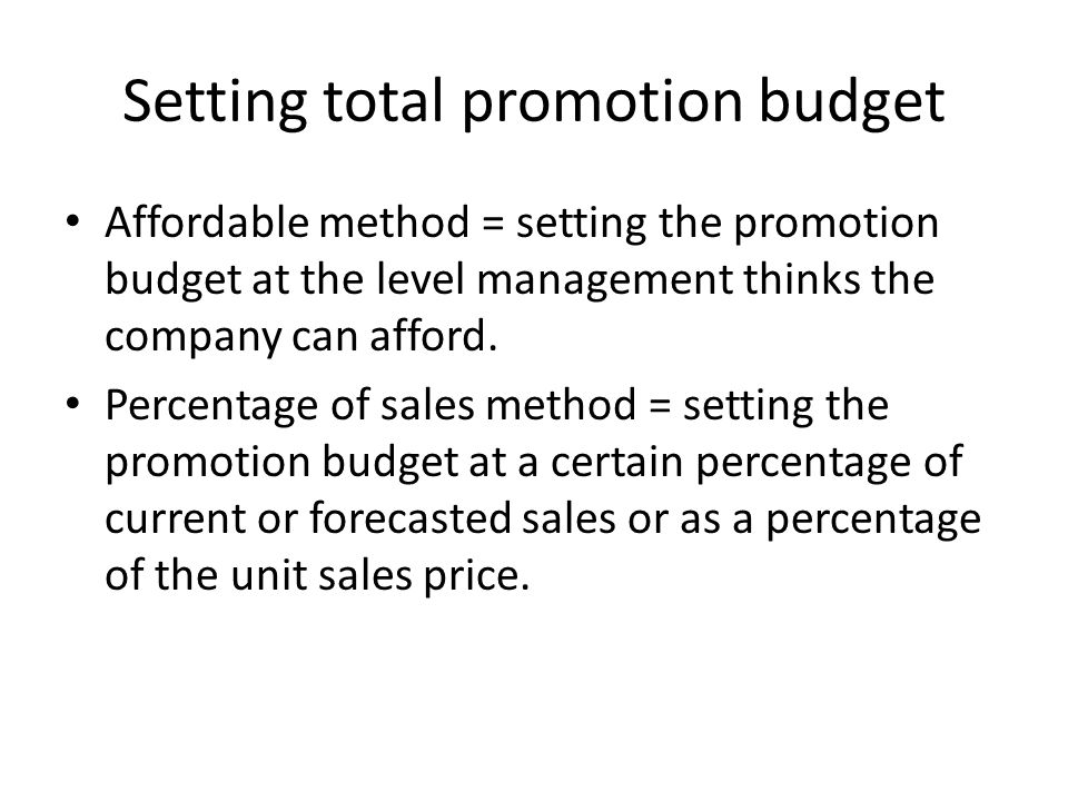 Setting total promotion budget