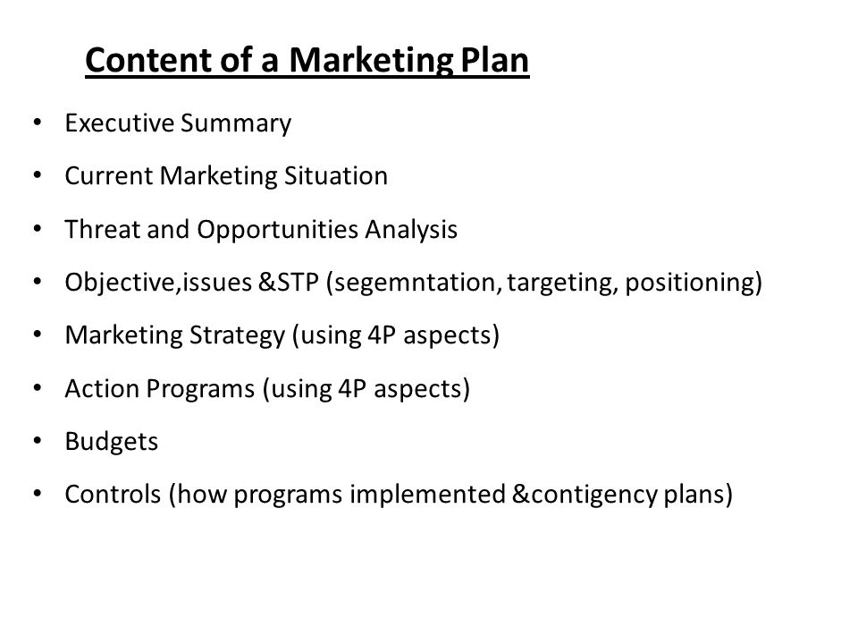 Content of a Marketing Plan