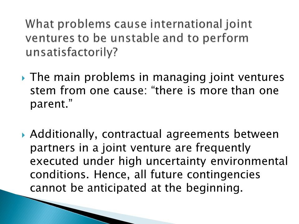 What problems cause international joint ventures to be unstable and to perform unsatisfactorily