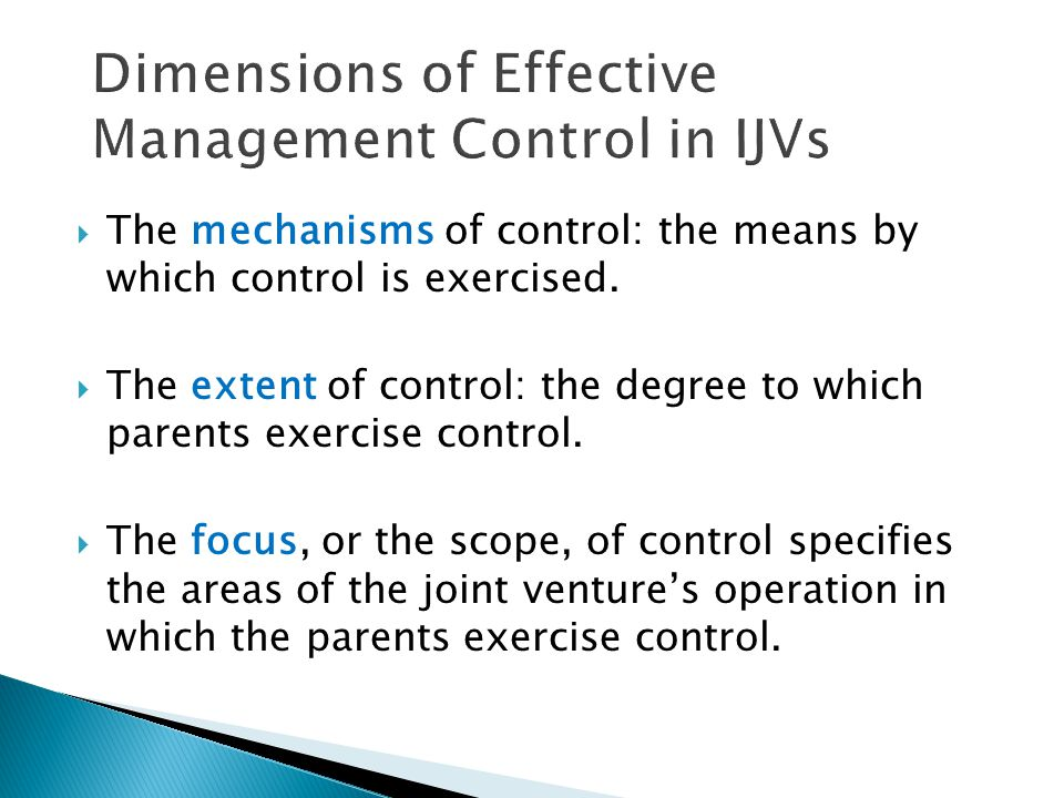 Dimensions of Effective Management Control in IJVs