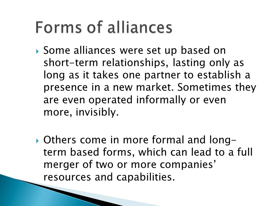 Forms of alliances