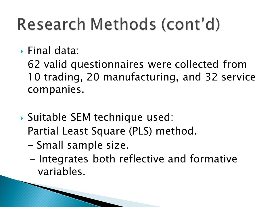 Research Methods (cont'd)