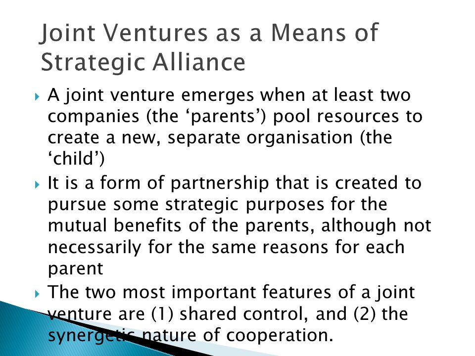 Joint Ventures as a Means of Strategic Alliance