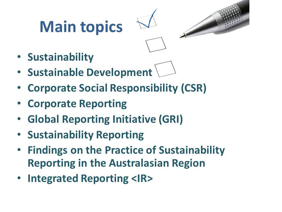 Main topics Sustainability Sustainable Development