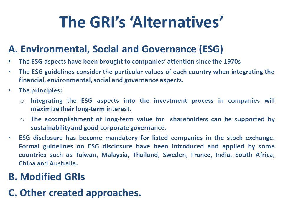 The GRI's 'Alternatives'