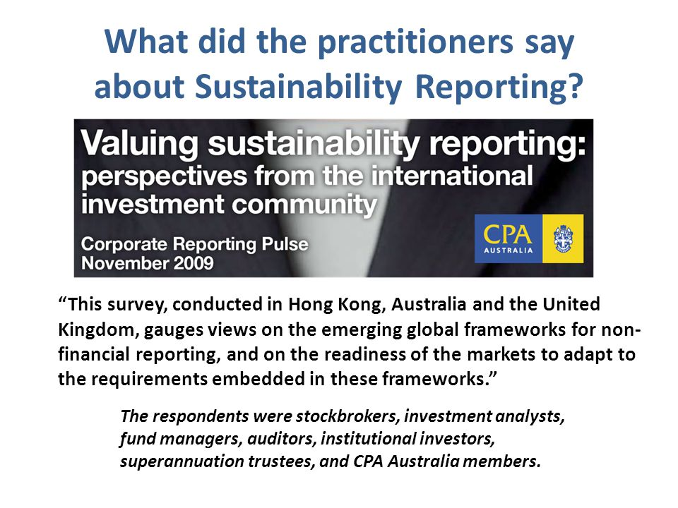 What did the practitioners say about Sustainability Reporting