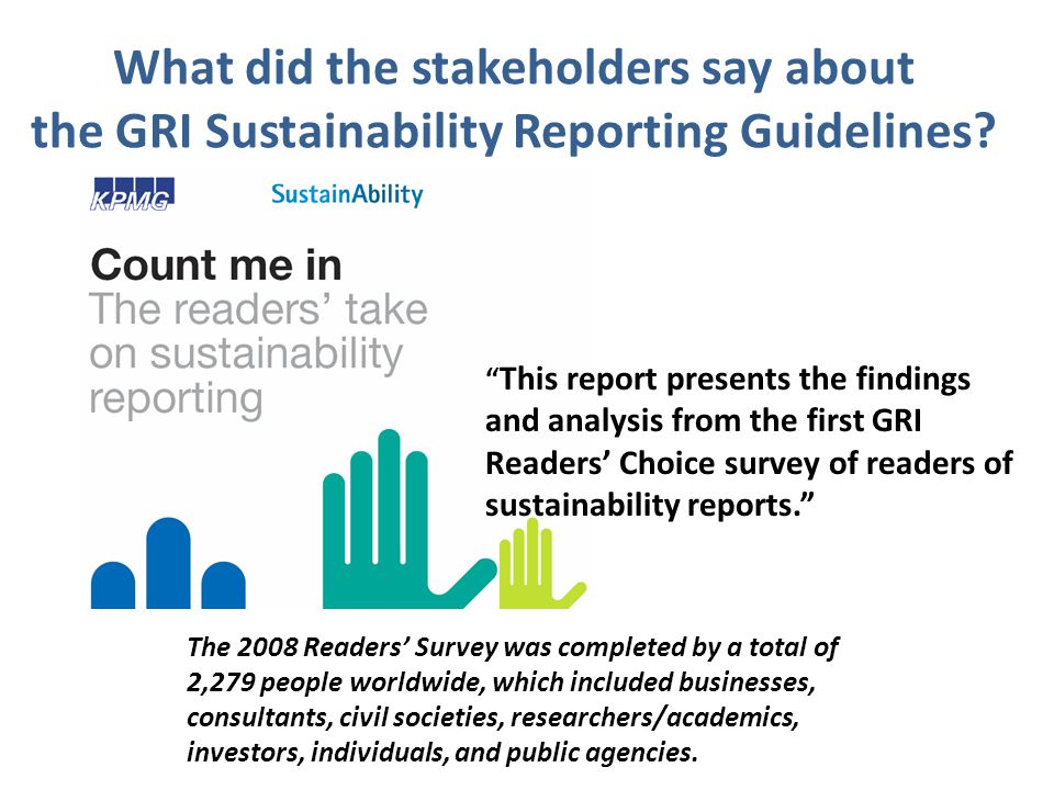 What did the stakeholders say about the GRI Sustainability Reporting Guidelines