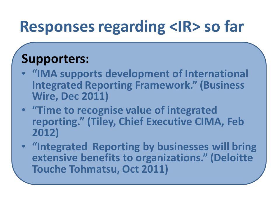 Responses regarding <IR> so far
