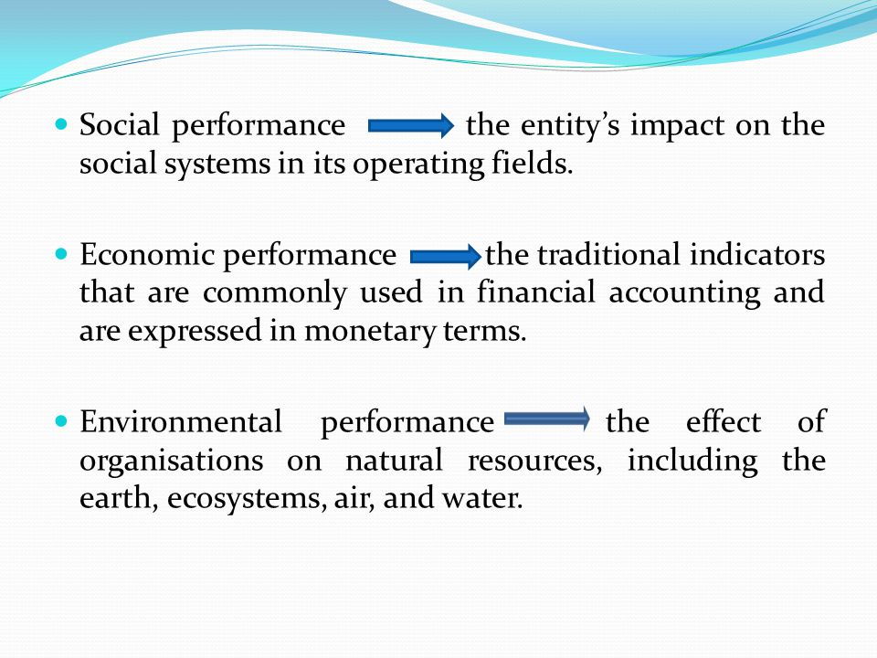 Social performance the entity's impact on the social systems in its operating fields.