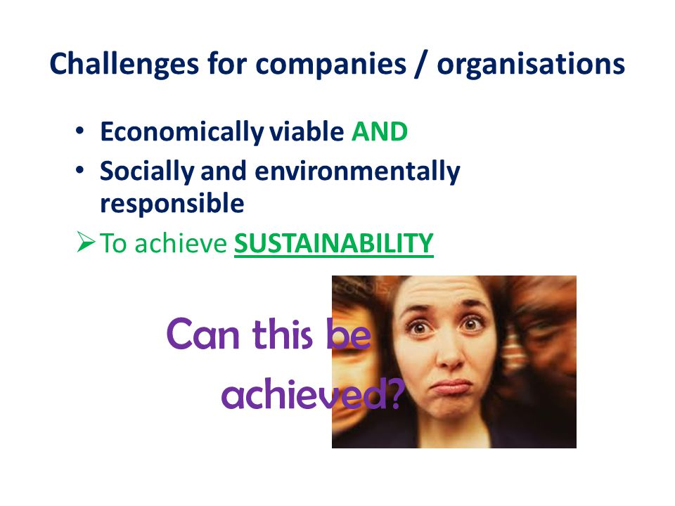 Challenges for companies / organisations