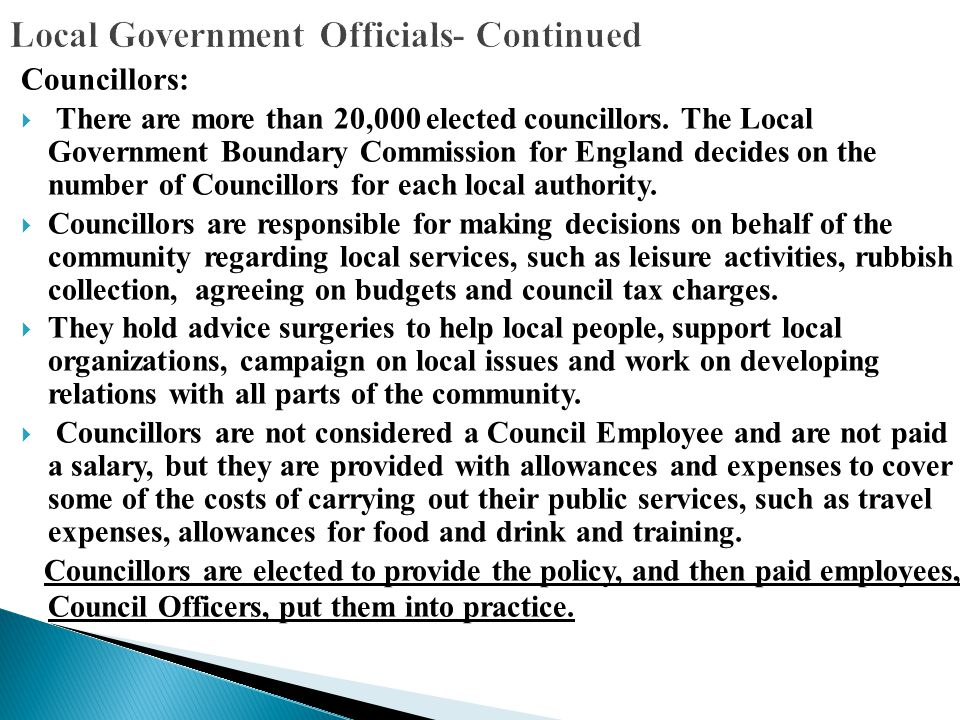 Local Government Officials- Continued