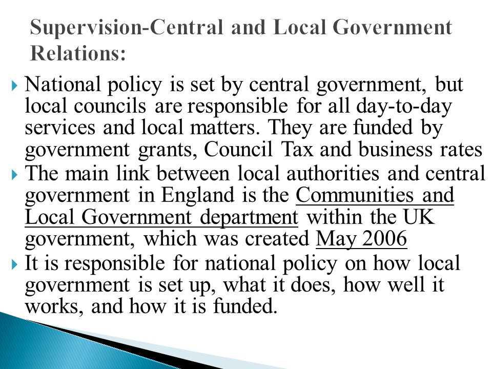 Supervision-Central and Local Government Relations: