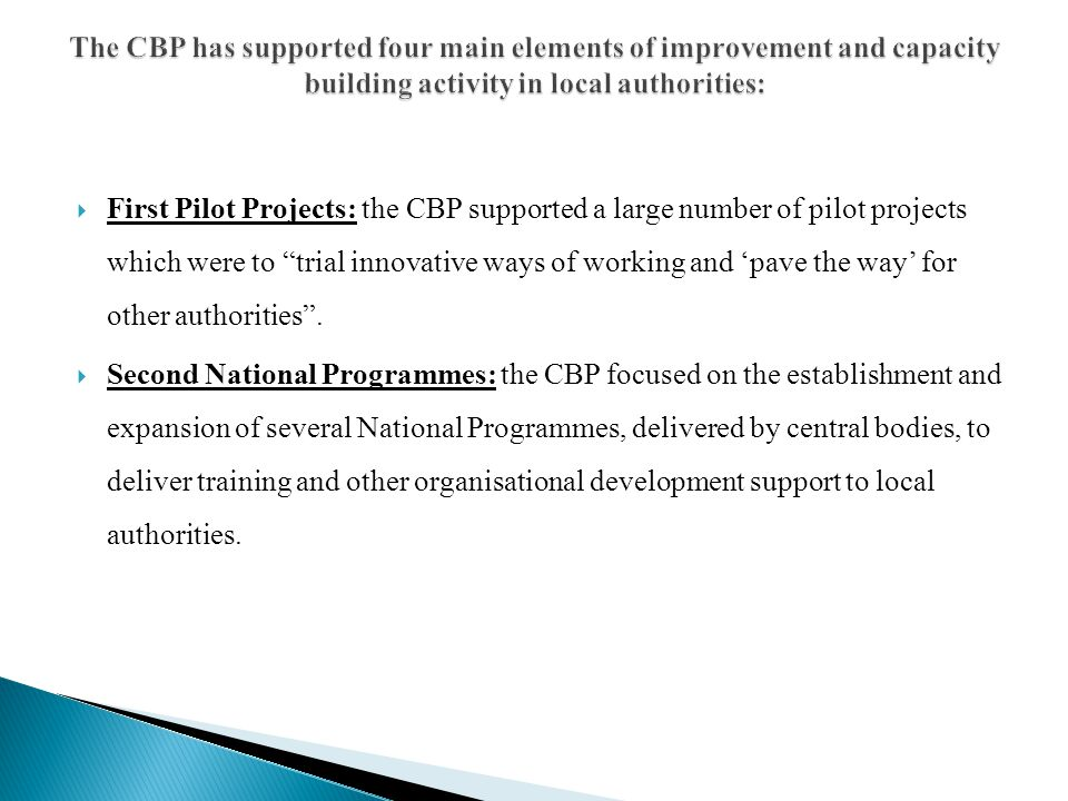The CBP has supported four main elements of improvement and capacity building activity in local authorities:
