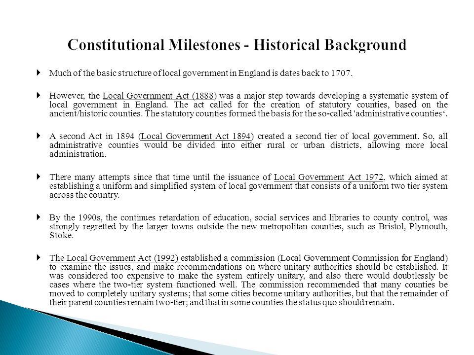 Constitutional Milestones - Historical Background