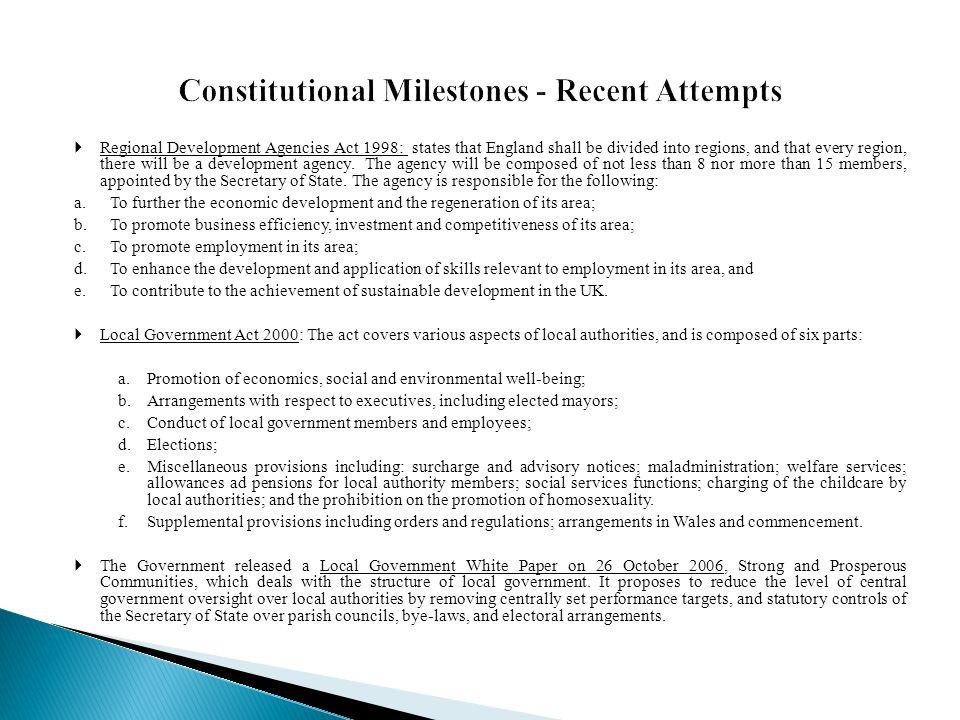 Constitutional Milestones - Recent Attempts