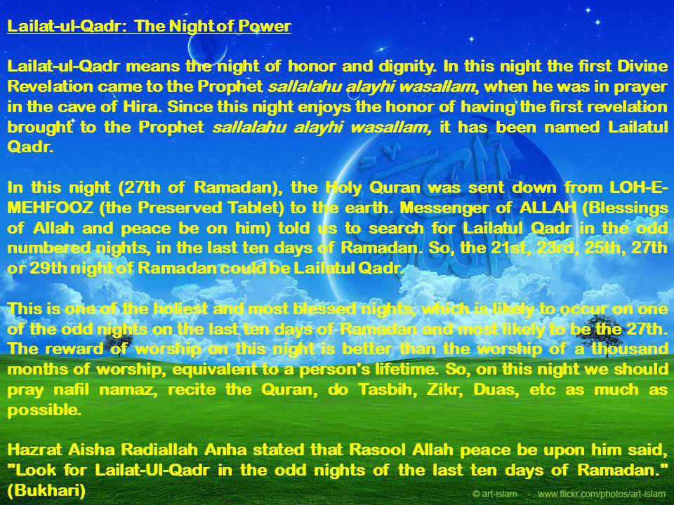 Lailat-ul-Qadr: The Night of Power