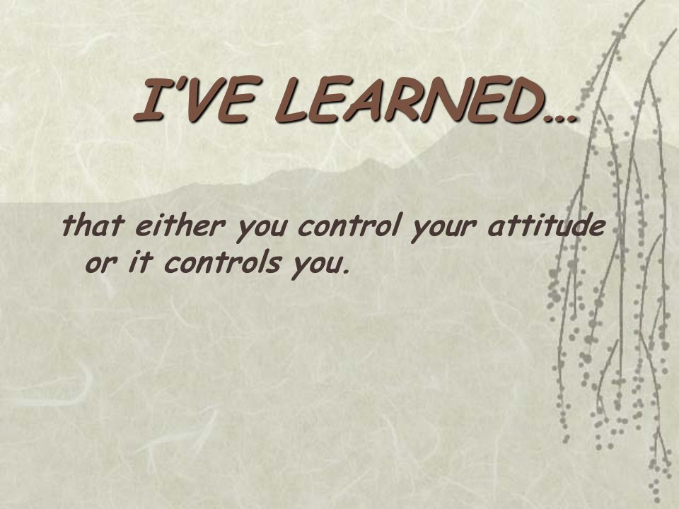 that either you control your attitude or it controls you.