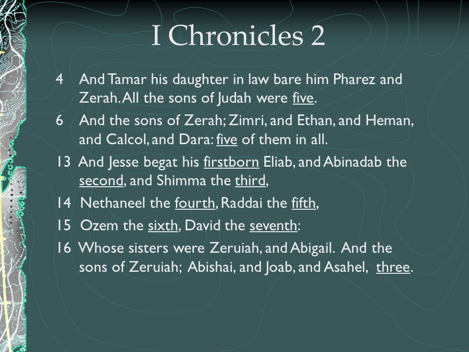 I Chronicles 2 And Tamar his daughter in law bare him Pharez and Zerah. All the sons of Judah were five.