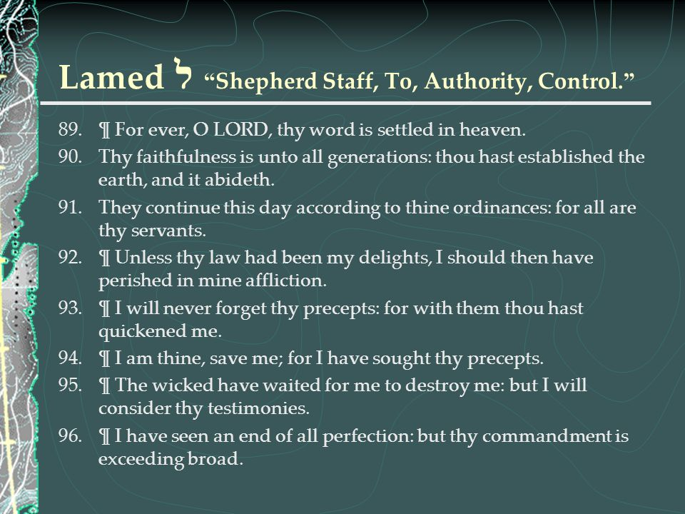 Lamed ל Shepherd Staff, To, Authority, Control.