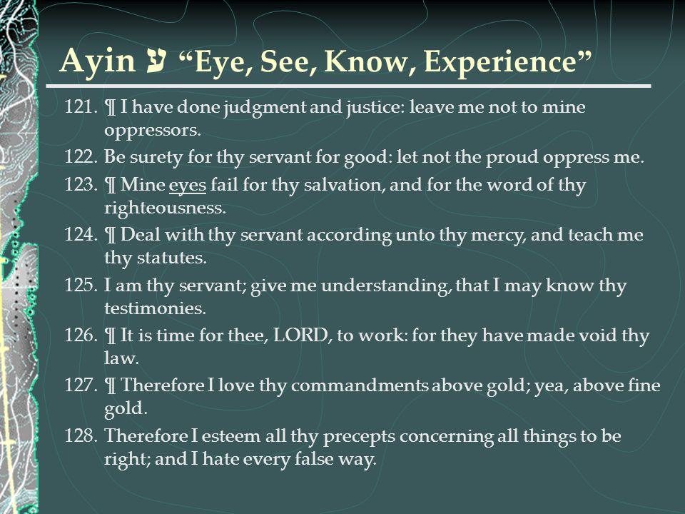 Ayin ע Eye, See, Know, Experience