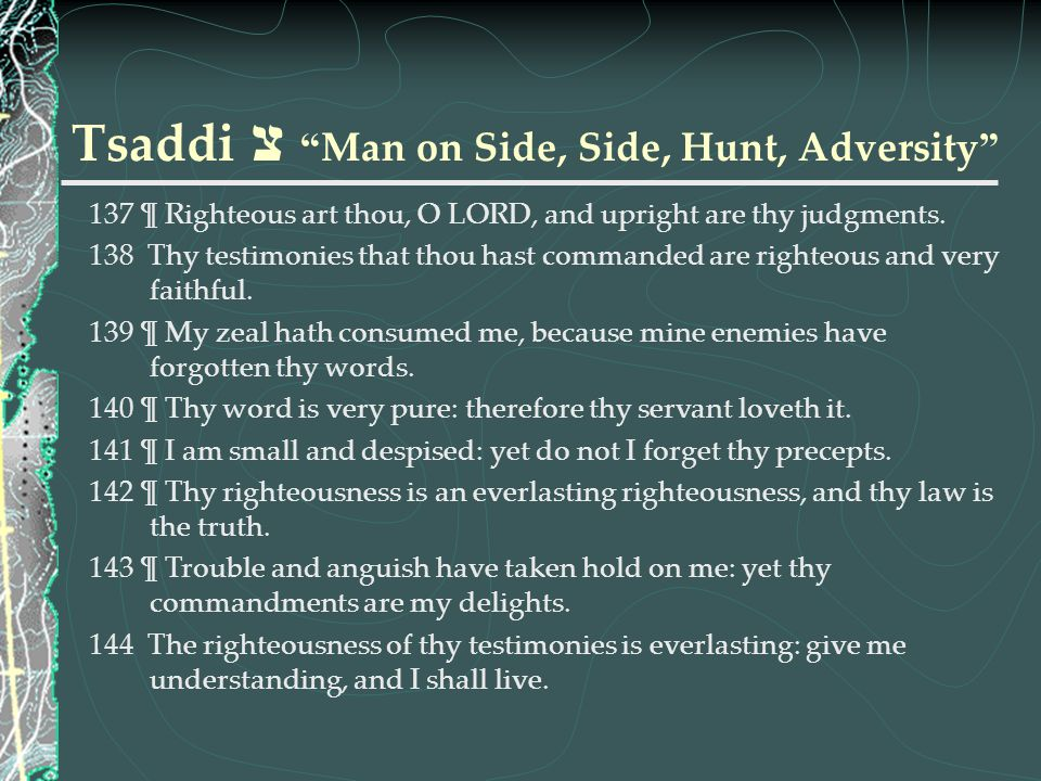 Tsaddi צ Man on Side, Side, Hunt, Adversity