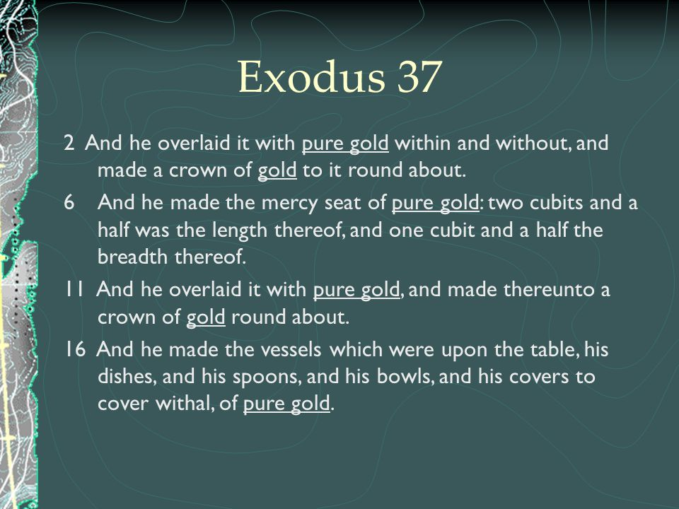 Exodus 37 2 And he overlaid it with pure gold within and without, and made a crown of gold to it round about.