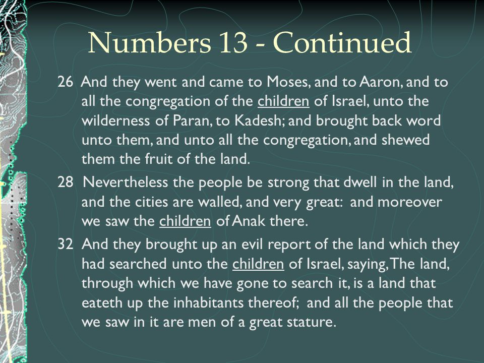 Numbers 13 - Continued