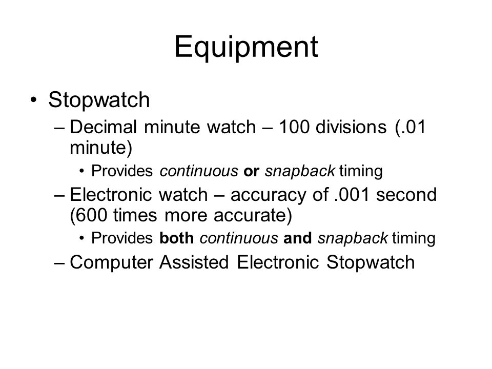 Equipment Stopwatch Decimal minute watch – 100 divisions (.01 minute)