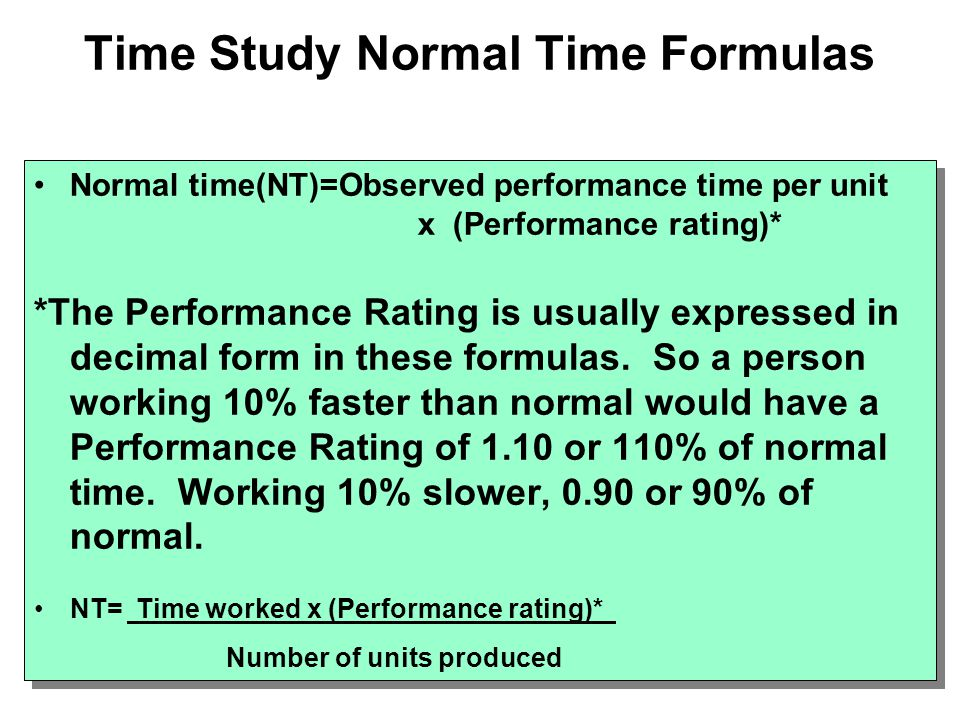 Time Study Normal Time Formulas