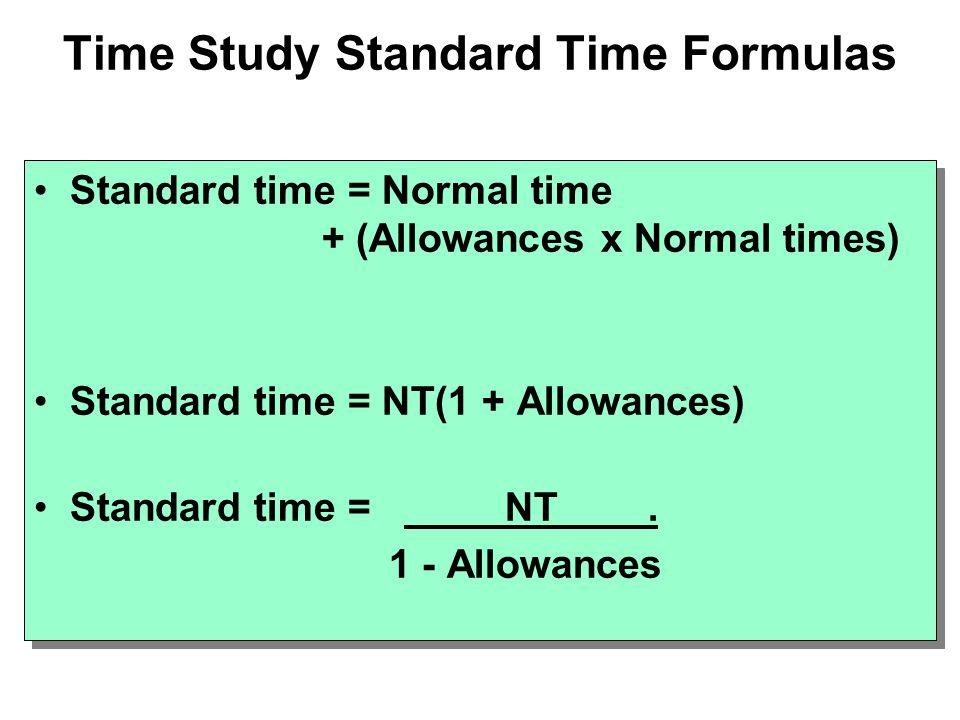 Time Study Standard Time Formulas