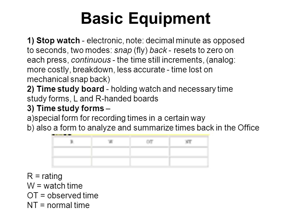 Basic Equipment 1) Stop watch - electronic, note: decimal minute as opposed. to seconds, two modes: snap (fly) back - resets to zero on.