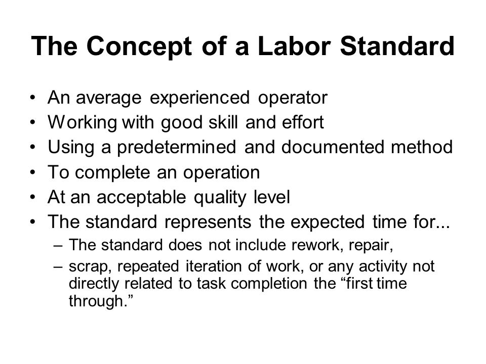 The Concept of a Labor Standard