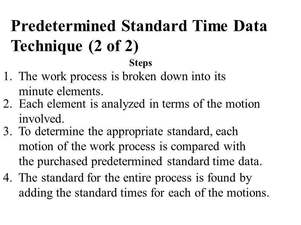 Predetermined Standard Time Data Technique (2 of 2)