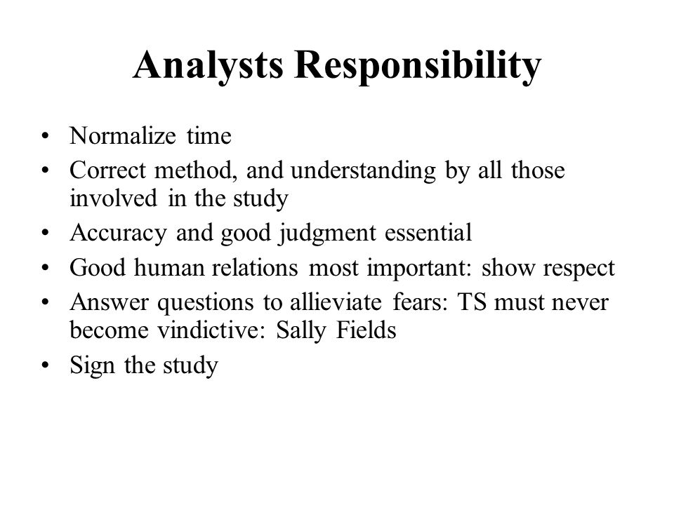 Analysts Responsibility
