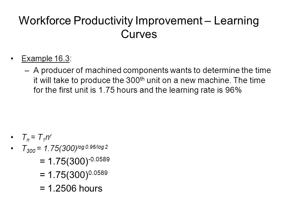 Workforce Productivity Improvement – Learning Curves
