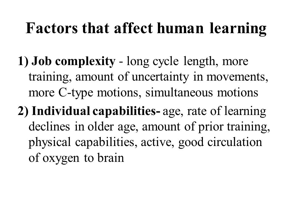 Factors that affect human learning