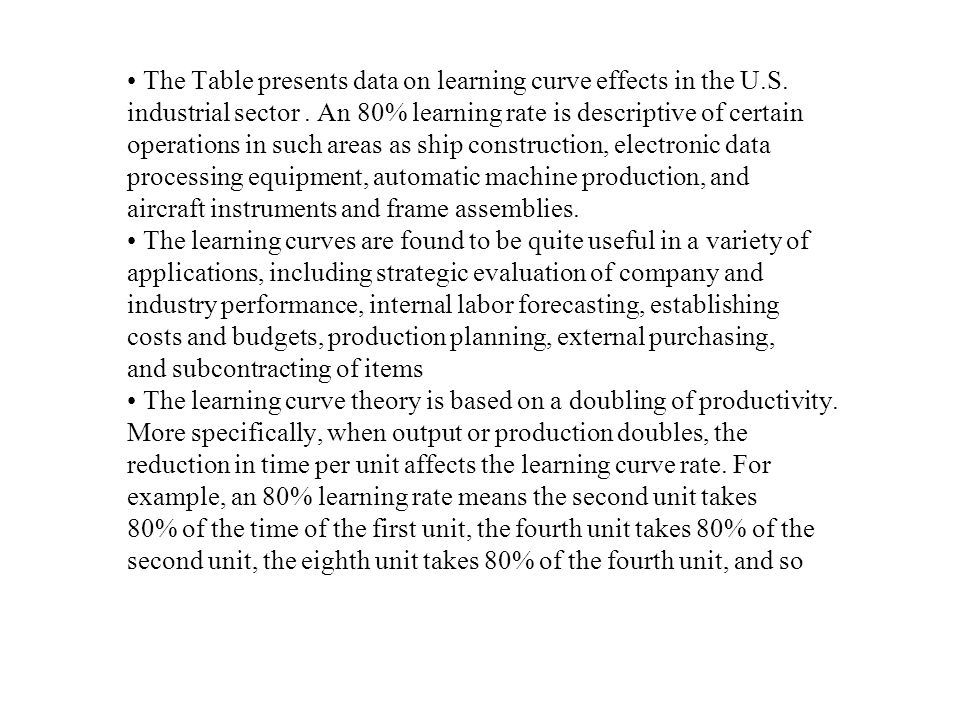 • The Table presents data on learning curve effects in the U.S.