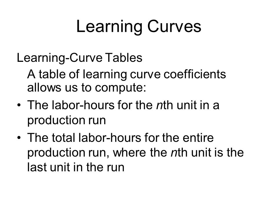 Learning Curves Learning-Curve Tables