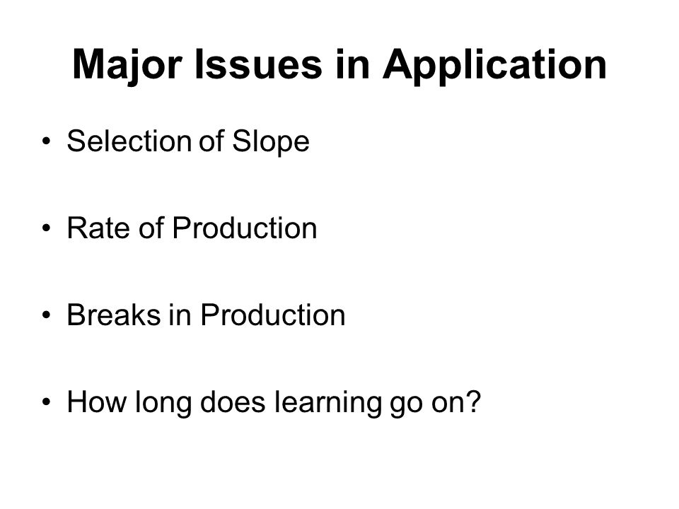 Major Issues in Application