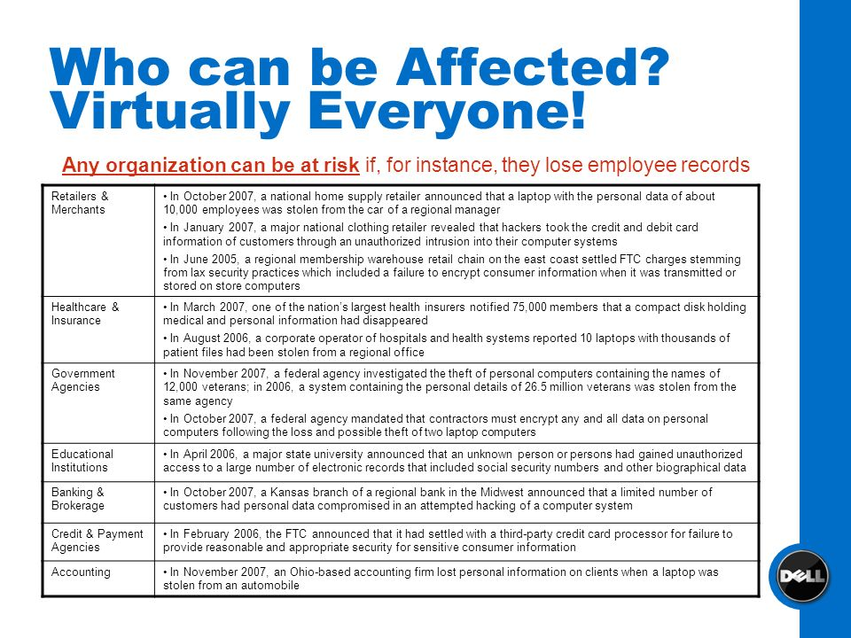 Who can be Affected Virtually Everyone!
