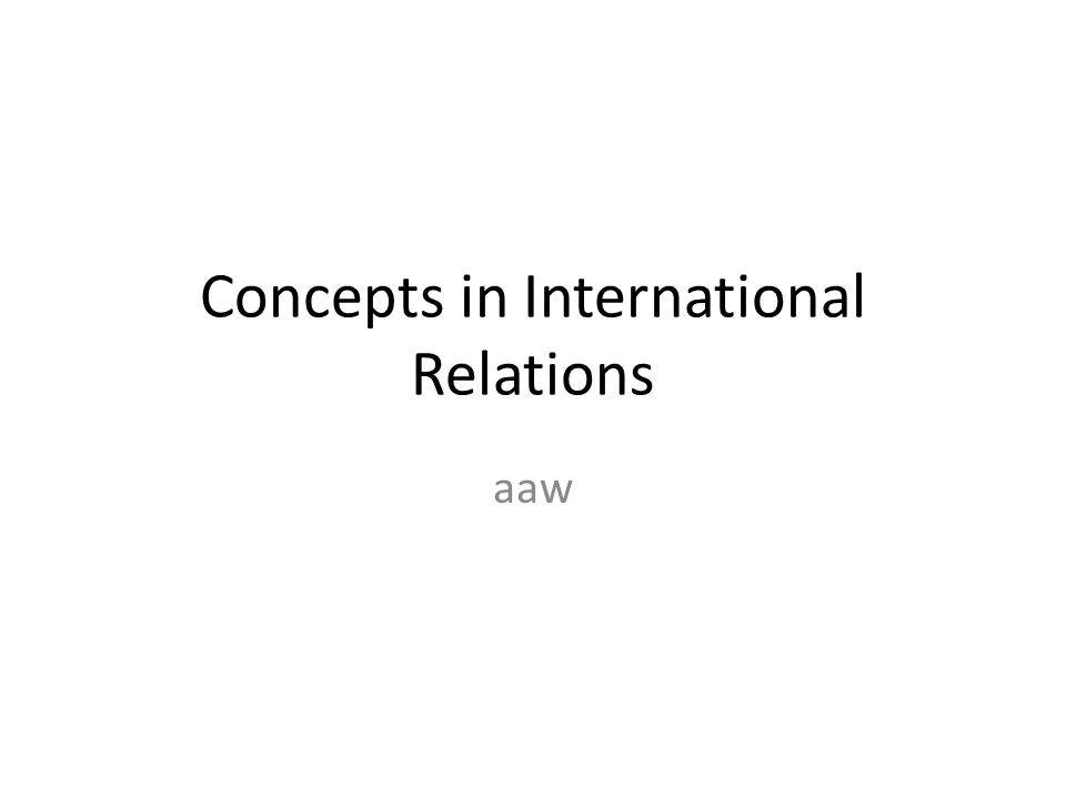 Concepts in International Relations