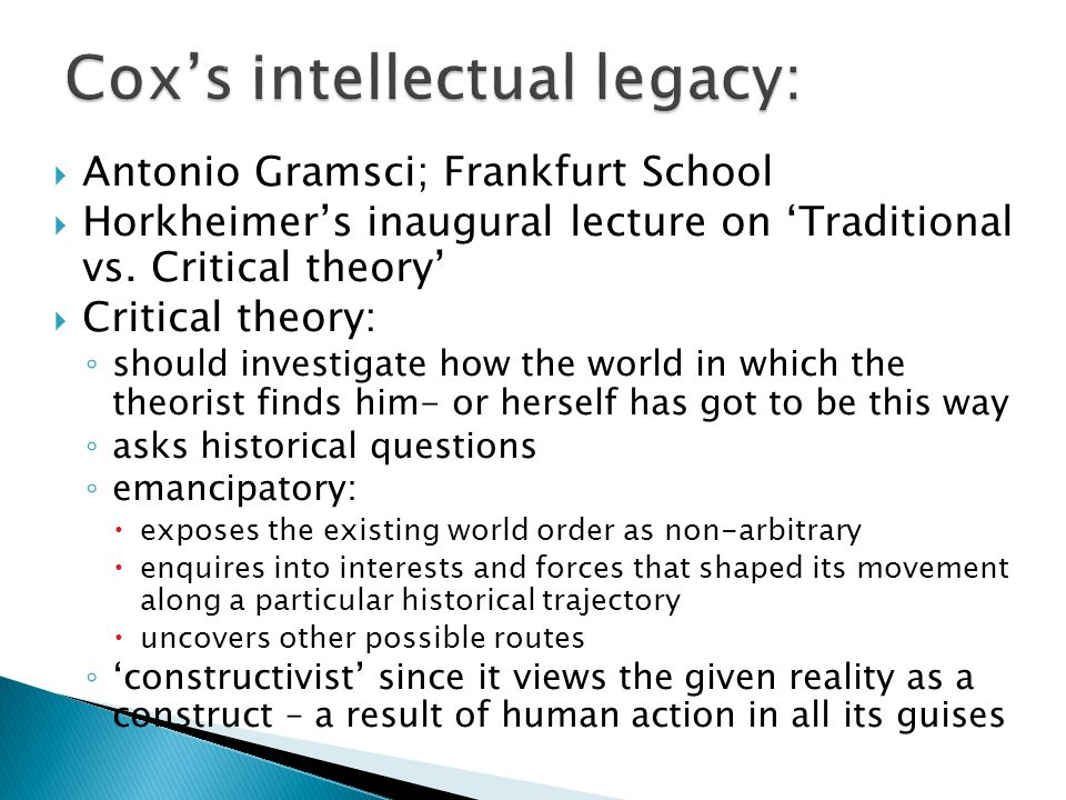 Cox's intellectual legacy: