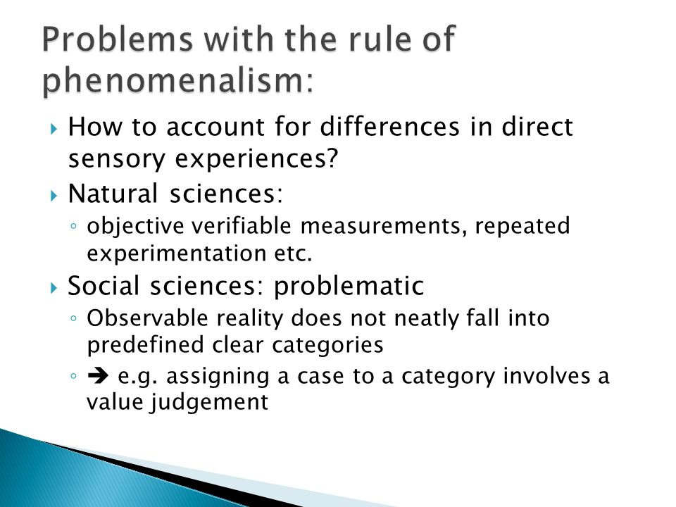 Problems with the rule of phenomenalism: