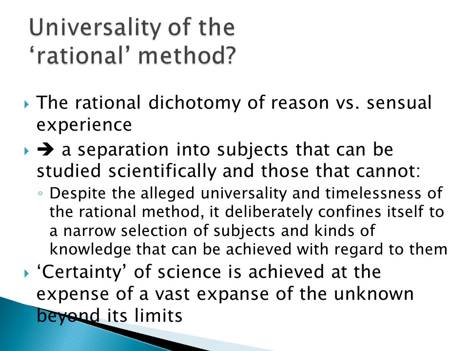 Universality of the 'rational' method