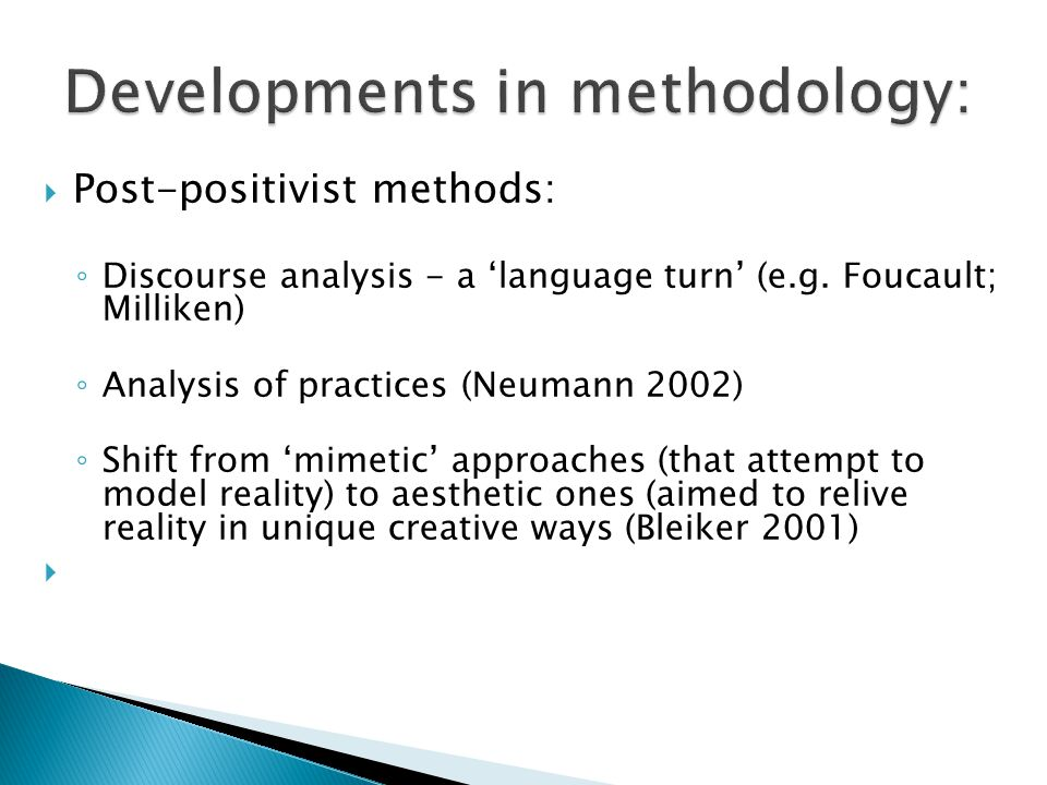 Developments in methodology:
