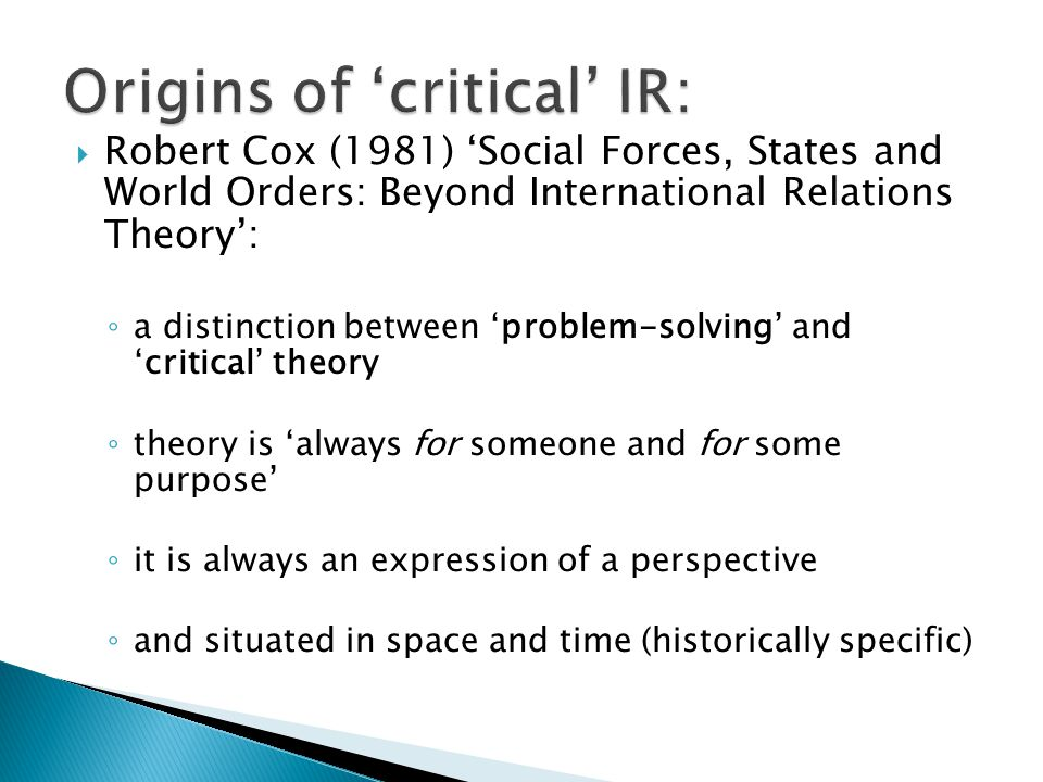 Origins of 'critical' IR: