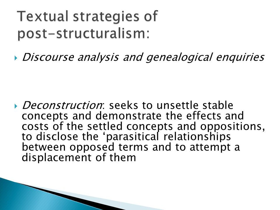Textual strategies of post-structuralism: