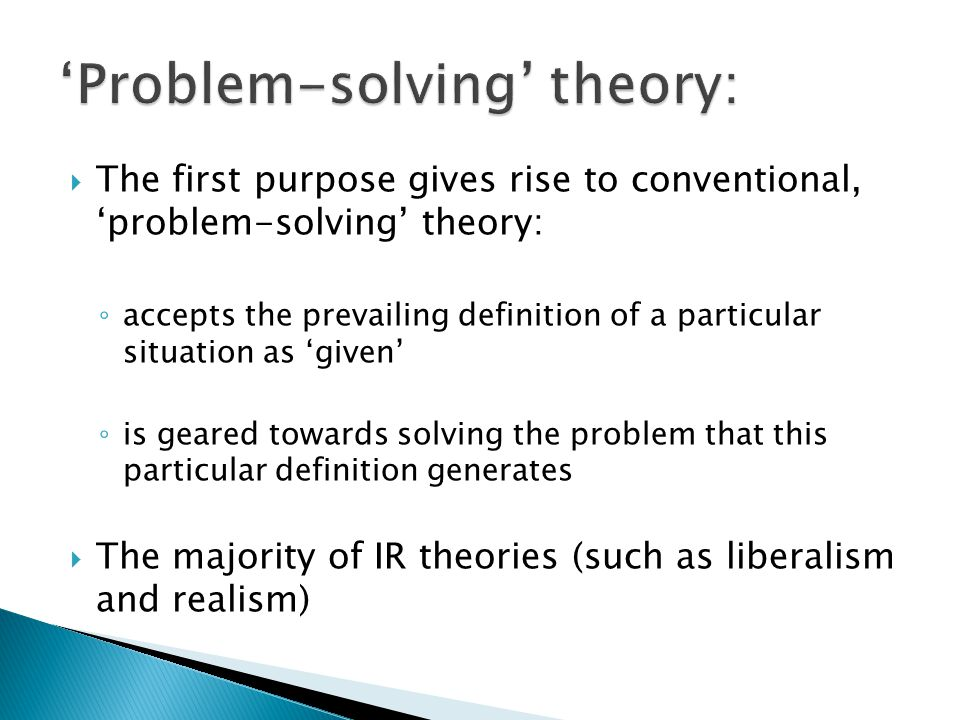 'Problem-solving' theory: