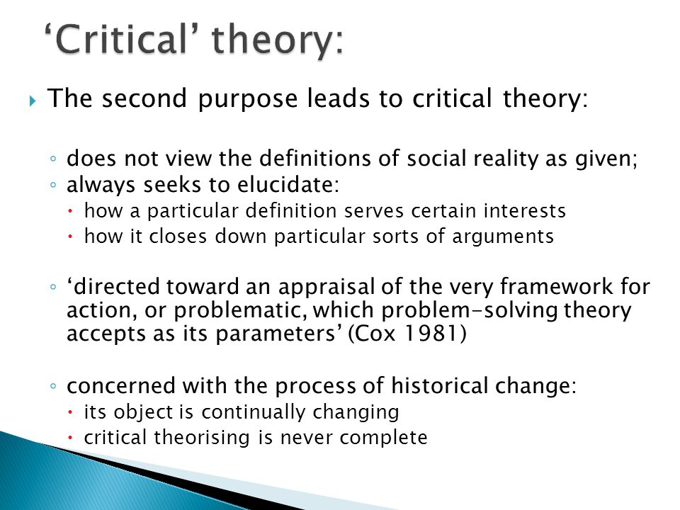 an orientation to the critical theories Goal orientation theory is a social-cognitive theory of achievement motivation goal theory became a particularly important theoretical framework in the study of academic motivation in the late 1980s.