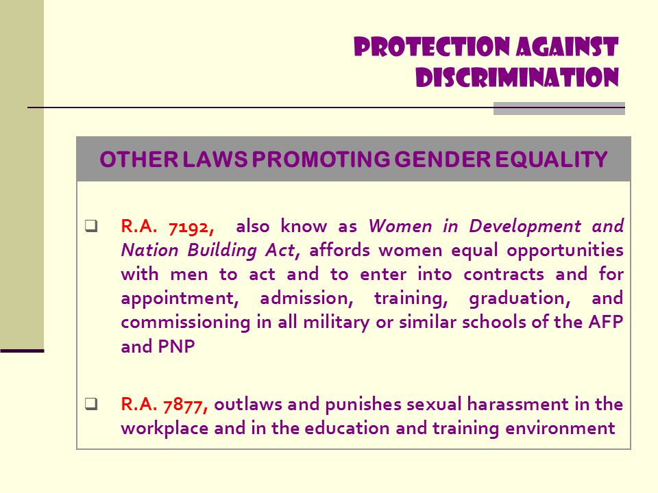 Protection Against discrimination